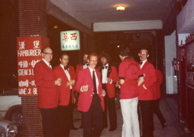 Don Webster, Jim Frederick, Tim Forrest, Bird Kauffman, Kevin Strebel (back to camera), Ray Steele TVFD social ca. 1982